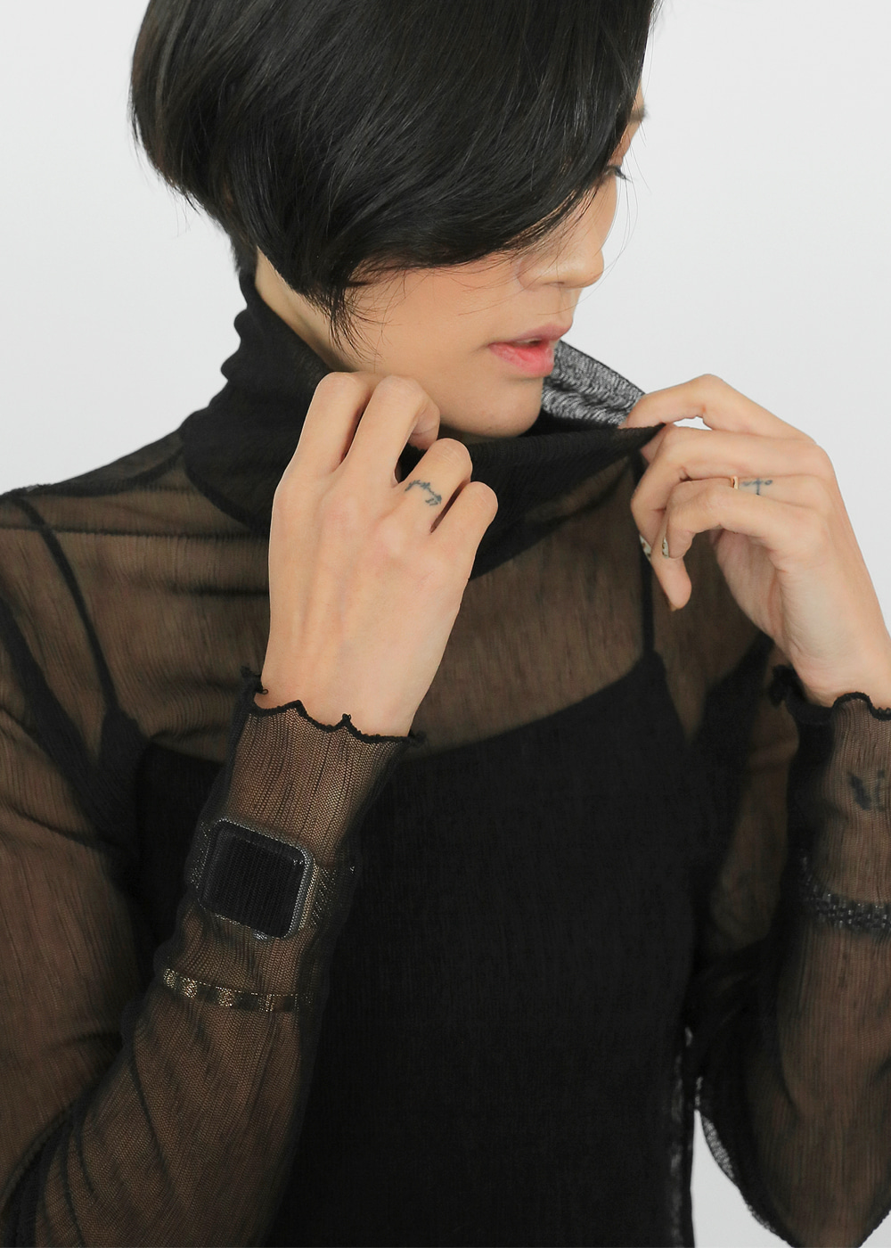 Sheer Turtleneck Top