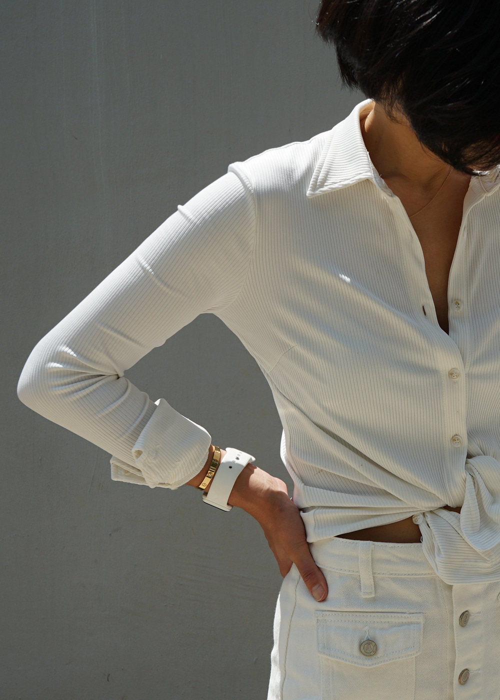 Button Down Ribbed Jersey Shirts White