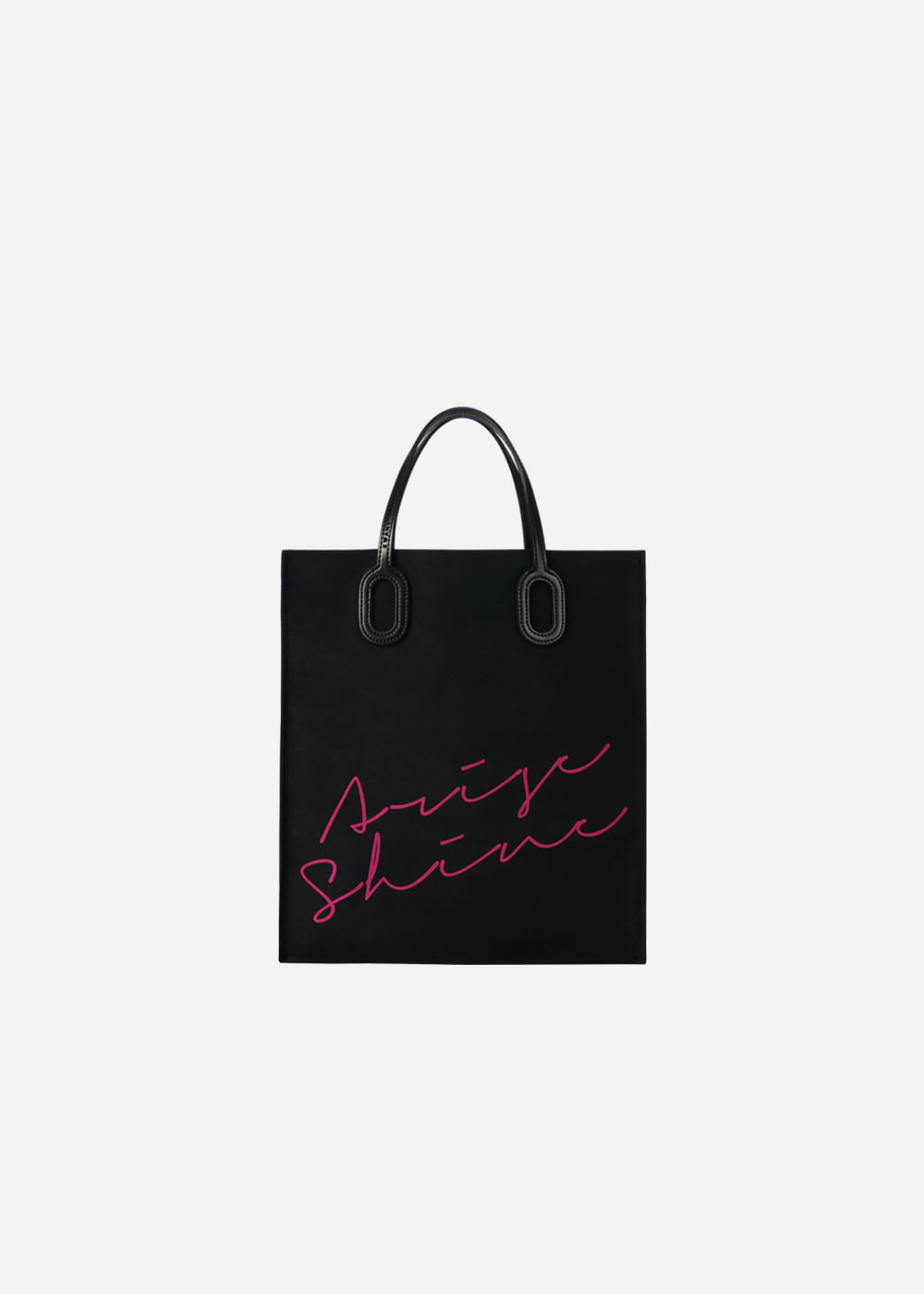 O Handle Tote Message Black